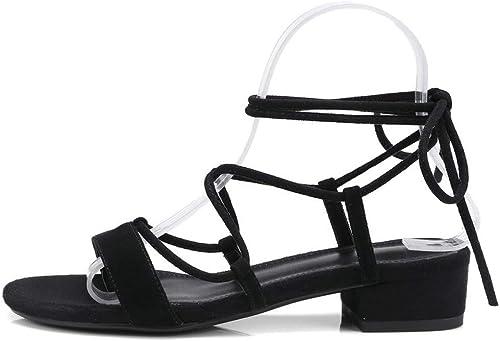 Sandalias de mujer de tacón bajo y Grueso de Ante con Cordones y Tiras para Baile o Fiesta