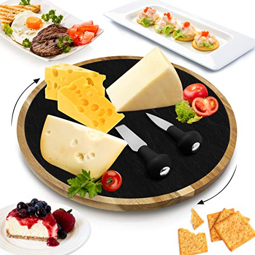 Nutrichef Rotating Lazy Susan Cheese Board, One Size, Brown