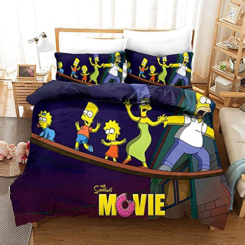 Funda de edredón de Cama The Simpsons, Funda de edredón de Microfibra Impresa en 3D, Funda de Almohada, Ropa de Cama