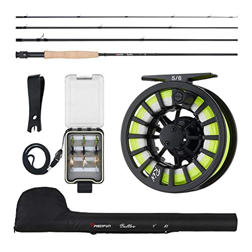 Piscifun Fly Fishing Rod and Reel Combo Fly Fishing Complete 5/6 Starter Package Fly Fishing kit for Beginners