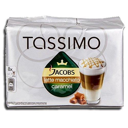 Tassimo T-Disc Kapseln Jacobs Caramel Latte Macchiato Kaffee, 8 Portionen, inkl. Milchkaffeepads