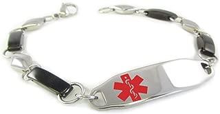 Pre-Engraved & Customizable Women's Penicillin Allergy Medical Alert Bracelet, Fancy Steel Chain