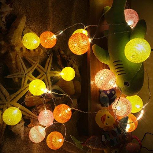 Guirlande Lumineuse, Chickwin Coton LED Chaîne de Lumière Boules Cosy Lumière Couleur Décoration Pour La Saint Valentin Noël Fêtes Mariage d'autres Fêtes Ou Occasions Etc (rose orange jaune, 1.8M / 10 lights)
