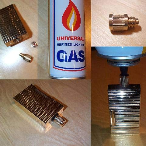 Gas - Nachfüll - Adapter GELB/Gold 19 mm LÄNGE passend für Feuerzeuge der Marke S.T. Dupont