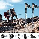 トレッキングポール 登山ストック 2本セット 超軽量 高強度アルミ製 コンパクト 3段伸縮式 アンチショック機能付き 男女兼用 アウトドア ウォーキング ハイキング 登山用ストック 収納バッグ&付属品付き