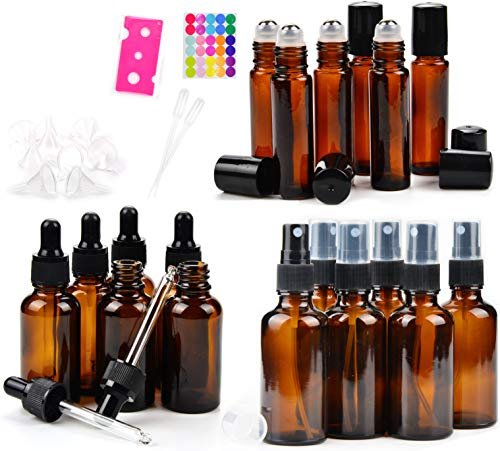 18 Amber Glass Essential Oil Bottles - 6 Amber Glass Eye Dropper Bottles (1 Ounce) - 6 Amber Glass Sprayer Bottles (2 Ounce) - 6 Amber Glass Stainless Roller Bottles for Essential Oil (0.34 Ounce)