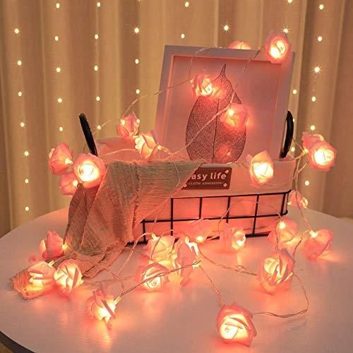 Guirnalda LED de 2,5 m, guirnalda de flores artificiales, guirnalda de luces de espuma, rosa, para el día de San Valentín, boda, decoración de Navidad, 2,5 m, color rosa