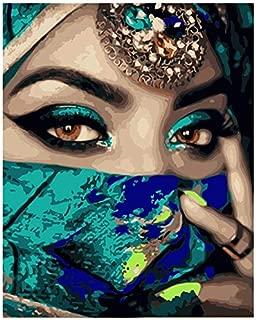 Geiqianjiumai Indian Girl Figure Canvas Wedding Decoration Art Picture Gift Imagen sin Marco de Fashion Flashing