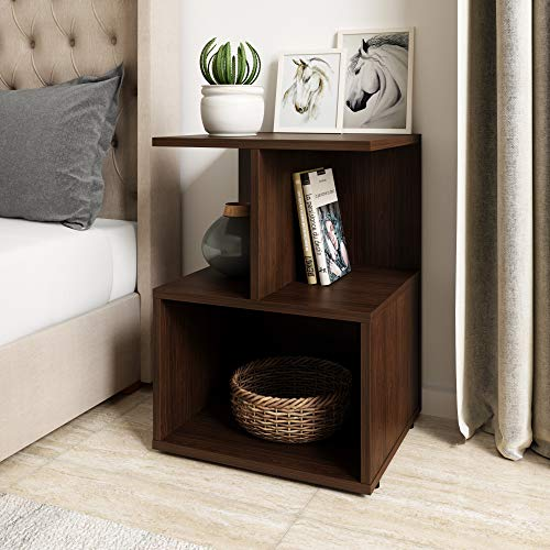 Amazon Brand - Solimo Uno Engineered Wood Walnut Finish Contemporary Bedside Table (Brown)
