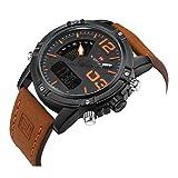 2020 Hombres Relojes Deportivos de Moda Hombres Cuarzo analógico Fecha Reloj Hombre Cuero Militar Impermeable Reloj Masculino Reloj Hombre