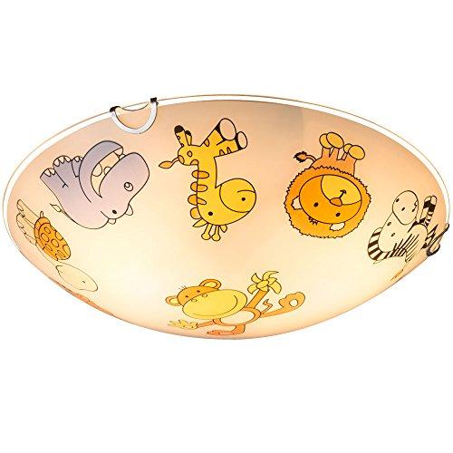 Design Kinder Decken Lampe Zoo Tier Motiv Spiel Zimmer Beleuchtung Glas Leuchte bunt Globo 40607