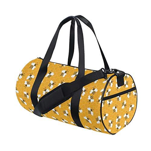 ZOMOY Sporttasche,Hummeln, die Honig produzieren, indem sie Grafik Bild Druck Bienenwaben Cellsd füllen,Neue Bedruckte Eimer Sporttasche Fitness Taschen Reisetasche Gepäck Leinwand Handtasche