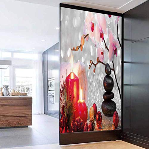 Static Window Sticker Glass Film Spa Decor Winter Christmas Theme with Pink Orchid Stone and Red Candle Easy to Install and Reuse Glass Film 23.6 x 78.7 in