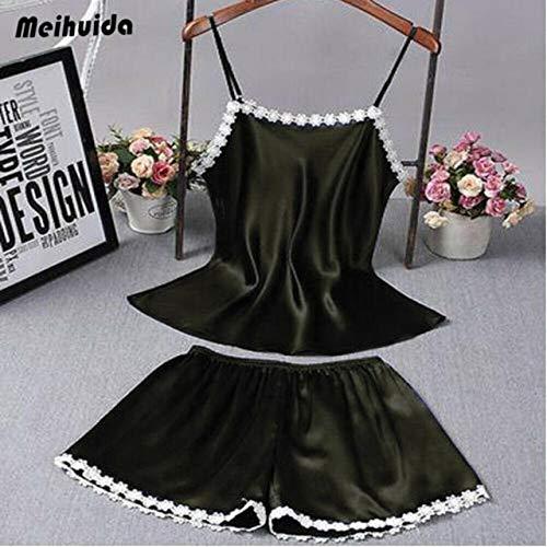 Handaxian 2 Piezas Vestido de bebé de Encaje Satinado para Mujer Ropa Interior Camisón Señoras Estampado Floral Escote en V Sling Pijama Estilo C3 M