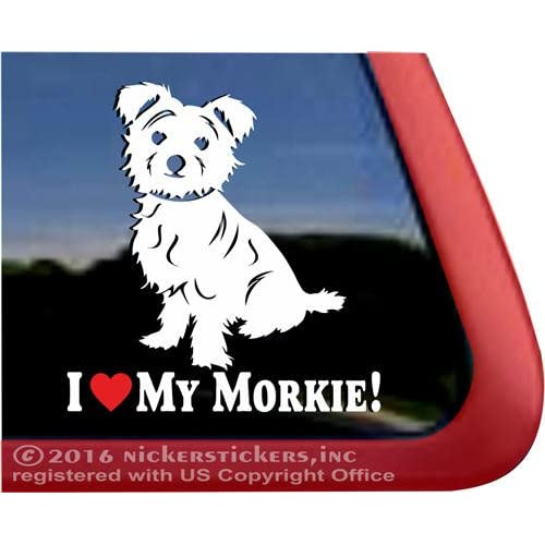 I Love My Morkie| Maltese Yorkie Mixed Breed NickerStickers Vinyl Dog Window Decal - Tipped