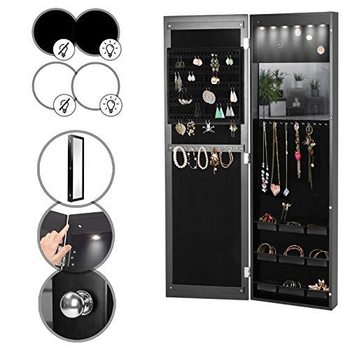 Armario para joyas con espejo – con o sin iluminación LED, colgante, blanco o negro – joyero, joyero, organizador, armario con espejo
