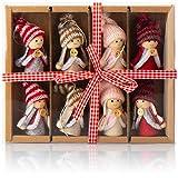 com-four® 8X Premium Wichtel-Anhänger für den Weihnachtsbaum, Verschiedene Christbaum-Figuren Anhänger als Baumbehang, Weihnachtsschmuck oder Geschenk-Anhänger
