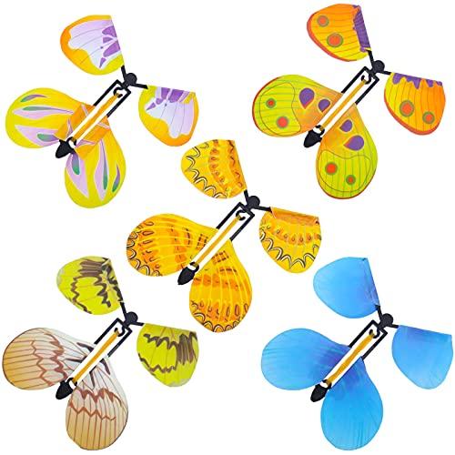 QINREN Magic Flying Butterfly Toy, 20 unidades Wind Up Butterfly en libro, colores claros, Magic Butterfly Card banda de goma Powered Wind Up Butterfly Toy, juguete de hadas, gran sorpresa para boda