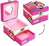 alles-meine.de GmbH Schmuckkasten - mit Schubladen + Spiegel -  Disney - Minnie Mouse  - incl. Name - Utensilo - Kinderzimmer - z.B. für Schmuck - Schmuckschatulle / Dose - Sch..