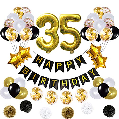 35 Birthday Decorations Ballons, Happy Birthday Banner/pom pom Flowers/Gold Mylar Balloons/Latex Balloons/Number 35 Foil Ballons/Gold
