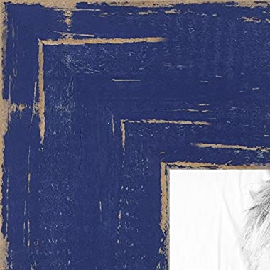 ArtToFrames 16x20 inch Weathered Barnwood in Saturated Navy Blue Wood Picture Frame, WOMSM-ECO150-NBU-16x20