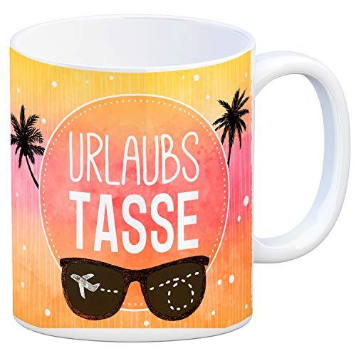 trendaffe - Kaffeebecher mit sommerlichem Urlaub Motiv und Spruch: Urlaubs Tasse
