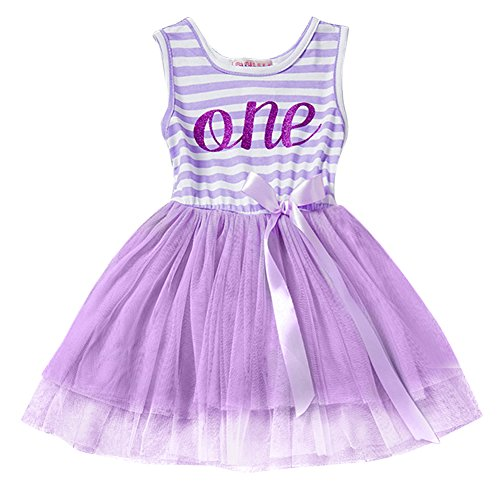 Newborn Baby Girls 1st 2nd 3rd Birthday Cotton Pink Striped Tulle Tutu Dress One Year First Birthday Skirt Outfits Cake Smash Party Princess Casual Gold Shiny Crown Letter Print Bow Tie Romper Clothes