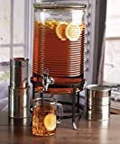 Circleware 68167 Canned Mason Jar Glass Beverage Dispenser with Metal Stand Glassware for Water, Iced Tea Kombucha, Punch and all Cold Drinks, 2 Gallon