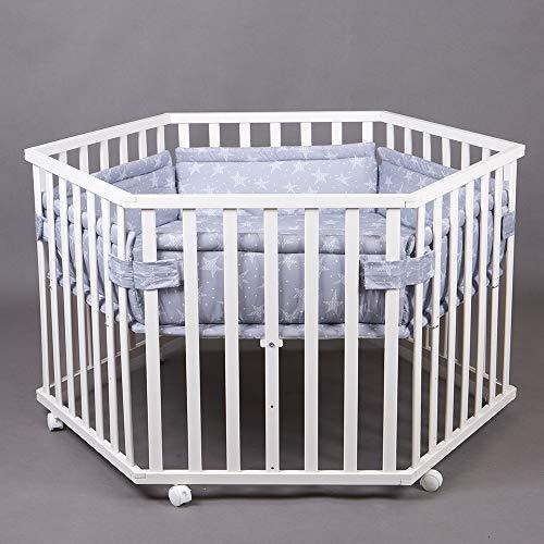 Laufgitter Laufstall 6-eckig Baby Krabbelgitter inkl. Stoffeinlage 3-fach höhenverstellbar WEISS 63200-D02