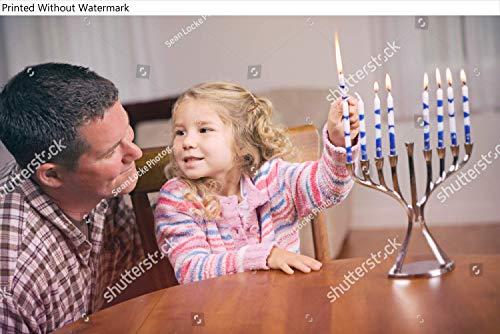 KwikMedia Poster of Hanukkah: Man and Daughter Light Hanukkah Candles