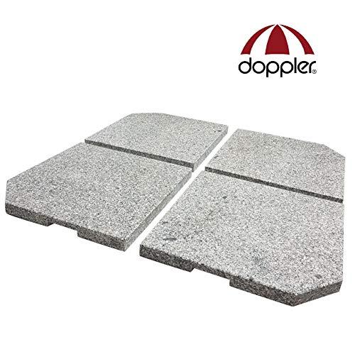 Doppler 4 Granitplatten für Schirmständer, perfekt auch für Ampelschirme, 100 kg Gesamtgewicht, 85599DPE25