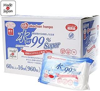 赤ちゃん本舗 水99%Super 新生児からのおしりふき 厚手タイプ 60枚×16個 日本製
