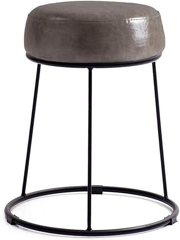 Carl Artbay Footstool PU Bright Gray Cushion High 46cm Soft Surface Thickening Household Stool Dressing Stool Round Stool Iron Stool Home Color Black Iron Frame