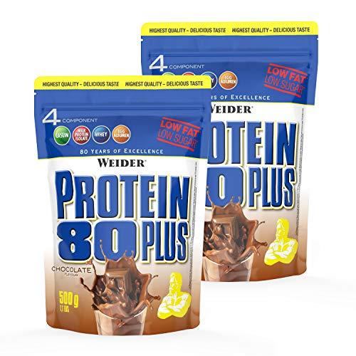 Weider Protein 80 Plus Eiweißpulver, 2 Pack, Shoko, Low-Carb, Mehrkomponenten Casein Whey Mix für Proteinshakes, 2x500 g