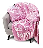 BlankieGram I Love You Throw Blanket, Blanket with Love for Best Friends, Couples, and Family, Perfect Heartfelt Gift for Loved Ones (Pink)