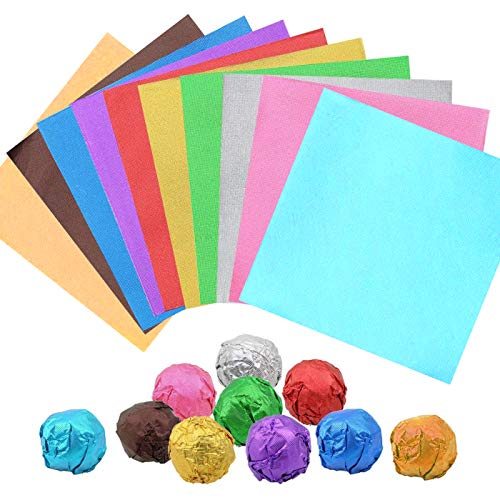 Papel de Chocolate,Zuzer 1000pcs Papel Chocolate Papel de Aluminio de Colores Papel Envoltura Papel de Envolver Para Decoración De Embalaje De Dulces De Bricolaje