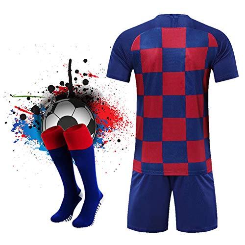 WQJIE Sport pak mannen voetbal trui, kinderen training jersey pak (met sokken) Retro 24 Kleur
