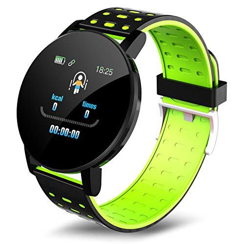 """Reloj Inteligente, 1.3"""" Pantalla Táctil Smartwatch Hombres Mujeres, los Rastreadores De Fitness con Monitor De Ritmo Cardíaco, IP67 Reloj Podómetro Reloj Inteligente para iOS Android,Verde"""