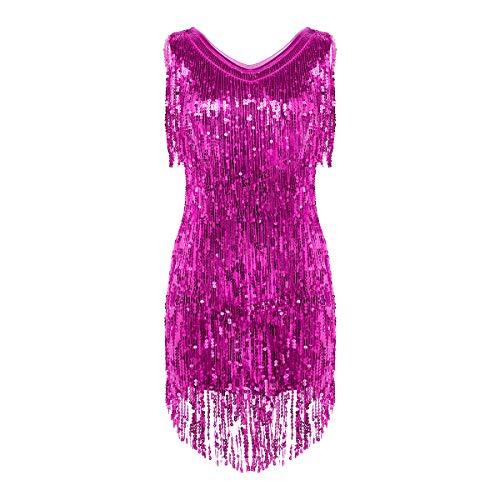 iixpin Damen Pailletten Latein Salsa Rumba Tanzbauch Kleider Tanzkleid Metallic Kleid Glitzer Latin Kleider Sparkle & Shine Tanzkleid für Party Performance Rose X-Large