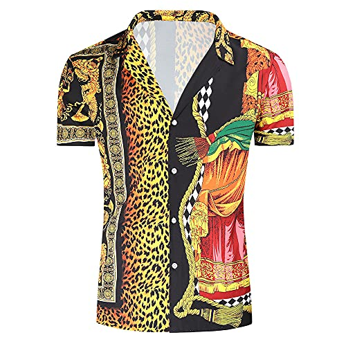 Hawaiana Camisa Hombre Verano Cuello V Manga Corta Ocio Camisas Moda Clásica T-Shirt Informal Vacaciones Shirt Ajustado Playa Shirt Que Absorbe Transpirable Tradicional Camisa A-001 XL