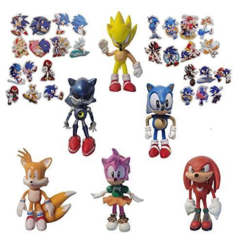 Figura de Sonic 6pcs / lot Sonic hedgehog character doll 2021 nueva colección de juguetes