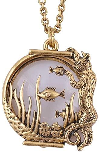 qiangloushui Collar Ocean Fish Animal Estilo Lupa Collar con Colgante De Vidrio Joyería De Oro Antiguo con Imán Se Cierra Y Se Abre
