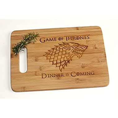 Game of Thrones Dinner is Coming Engraved Bamboo Wood Cutting Board with Handle Funny Gift for House Stark Fans