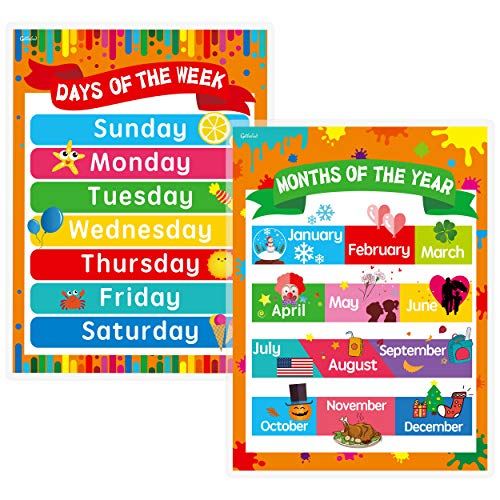"""Days of the Week, Months of the Year Laminated Posters Get to Know the Calendar for Kids (17"""" x 23"""")"""