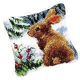 Hellery Latch Hook Alfombra Kits Flor Conejo Gato Jirafa DIY Funda De Almohada Material Paquete - Conejo