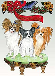 Papillon Christmas Cards : 10 Holiday Cards with Red Envelopes - ADORABLE!