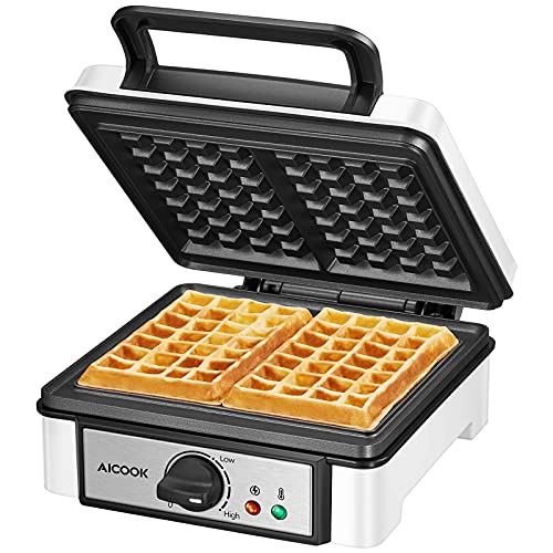 AICOOK Waffle Maker Iron, 1200W Non-Stick Easy to Clean Belgian Waffle Machine with Browning Control, Mess-Free Moat, Indicator Lights, Non-Scald Phenolic Plastic Housing, Easy to Store Compact Design (medium)