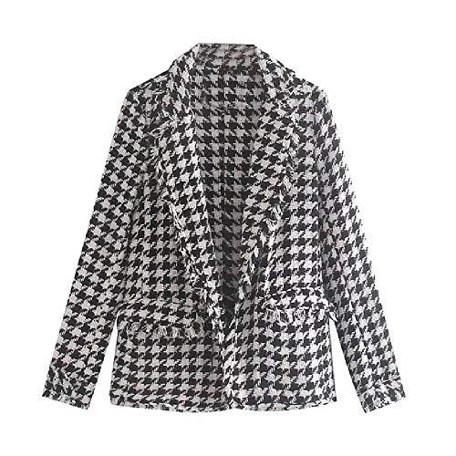 Nobrand Inglaterra Vintage Plaid Tweed Simple Blazer Feminino Blazer Mujer Blazer Mujer Mujer Blazers y Chaquetas