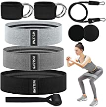 Booty Bands Resistance Bands Set for Men Women Legs and Butt, 3 Levels Fabric Workout Exercise Bands with Door Anchor 2 Legs Ankle Straps Core Sliders for Home Fitness Gym Yoga Squat Glute