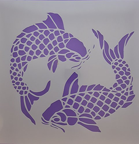 Dazzle Cards Large Koi carp Fishes Mylar Stencil Sheets for Greeting Card Making/Wall Border 5.7' x 6.5'